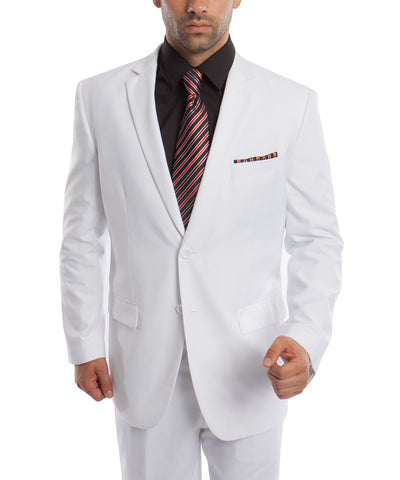 Classic Solid White Modern Fit Men's Suit Demantie Suits - Paul Malone.com