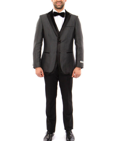 Black Slim Fit 3-piece Formal Suit with Vest Paul Malone Suits - Paul Malone.com