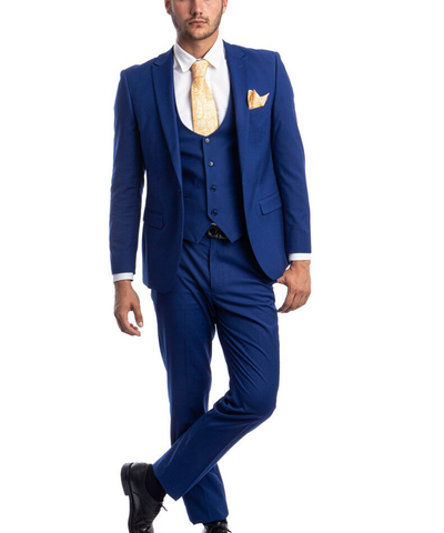 Indigo Blue Slim Fit Men's Suit with Vest Set Paul Malone Suits - Paul Malone.com