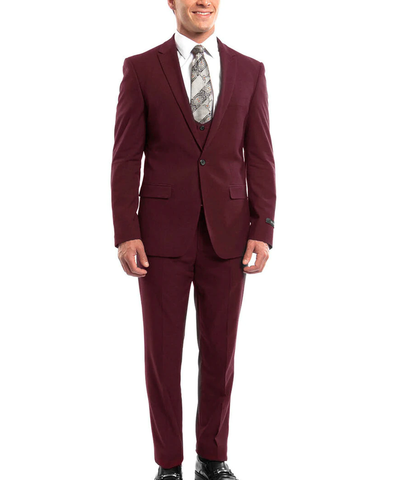 Burgundy Slim Fit Men's Suit with Vest Set Paul Malone Suits - Paul Malone.com