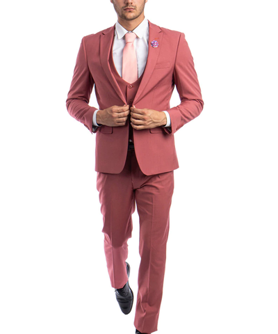 Coral Slim Fit Men's Suit with Vest Set Paul Malone Suits - Paul Malone.com