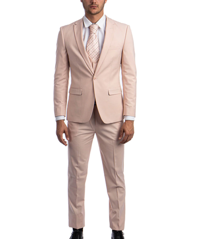 Blush Slim Fit Men's Suit with Vest Set Paul Malone Suits - Paul Malone.com