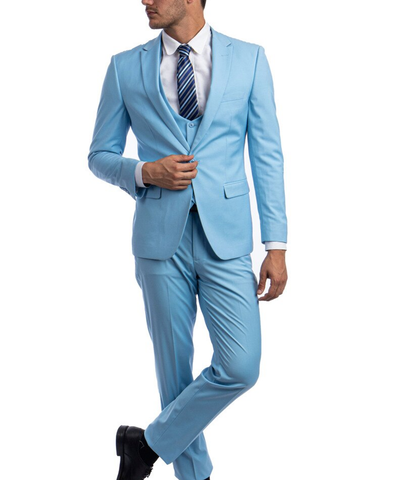 Sky Blue Slim Fit Men's Suit with Vest Set Paul Malone Suits - Paul Malone.com
