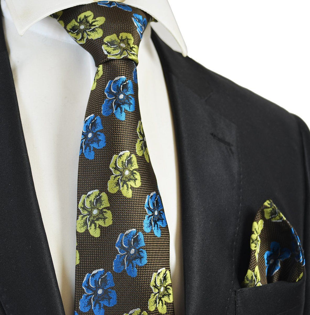 Brown and Green Floral Men's Tie and Pocket Square Paul Malone Ties - Paul Malone.com