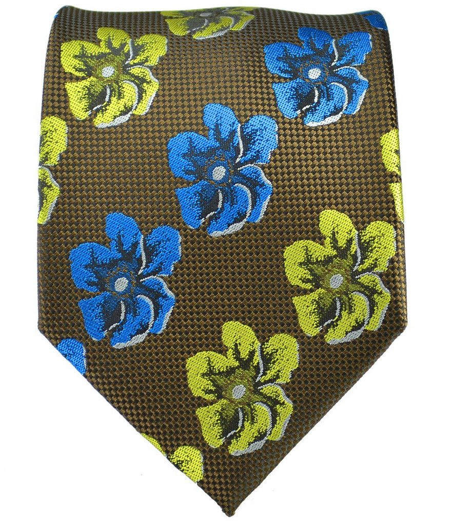 Brown and Green Floral Men's Tie and Pocket Square Ties Paul Malone