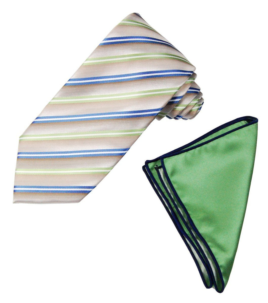 Blue and Green Striped Men's Tie and Pocket Square Paul Malone Ties - Paul Malone.com