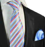 Blue, Gold and Red Striped Men's Tie and Pocket Square Paul Malone Ties - Paul Malone.com