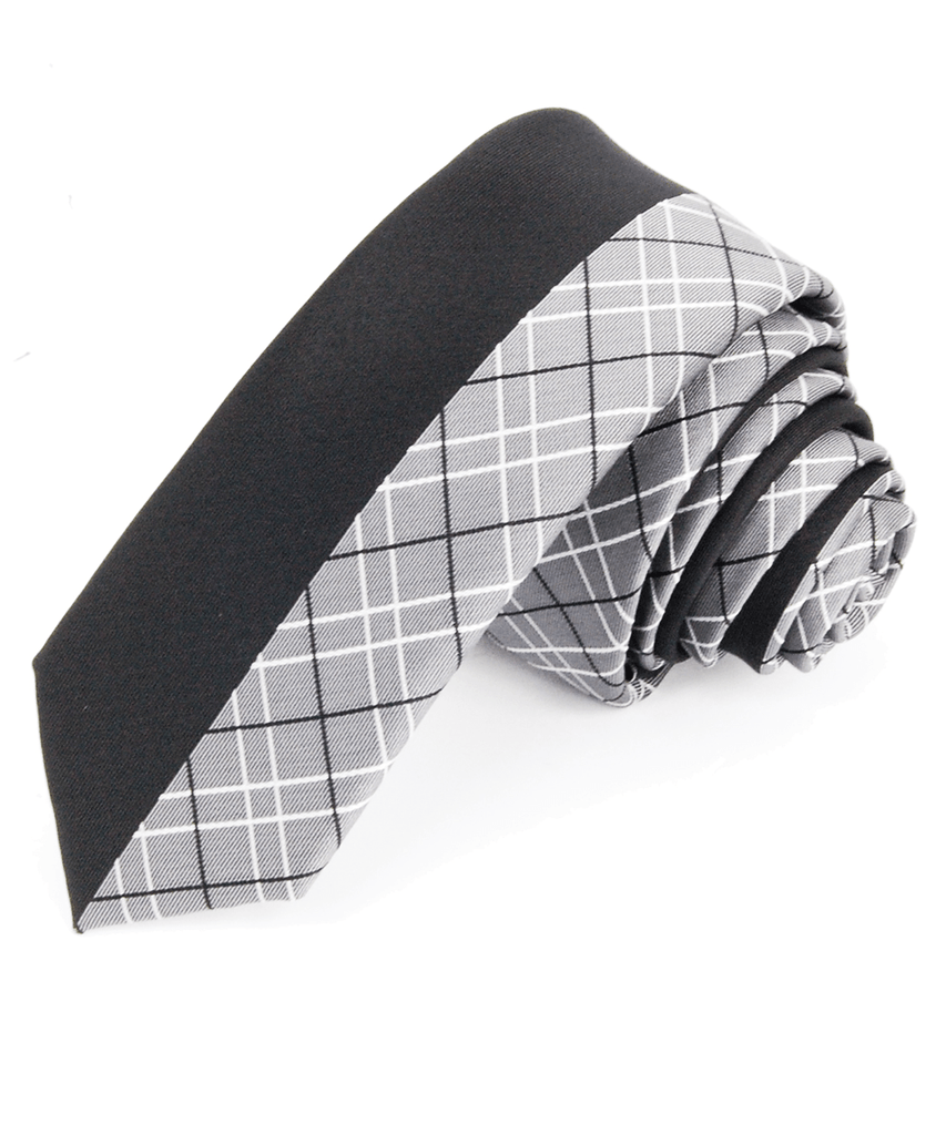 Black and Grey Slim Panel Necktie Paul Malone Ties - Paul Malone.com