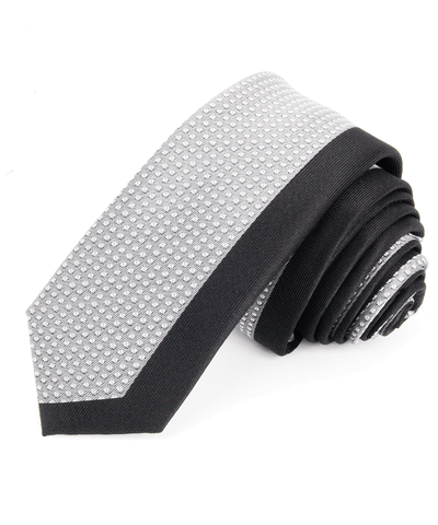 Grey and Black Skinny Panel Men's Tie Paul Malone Ties - Paul Malone.com