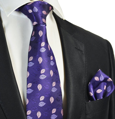 Purple Floral Men's Tie and Pocket Square Paul Malone Ties - Paul Malone.com