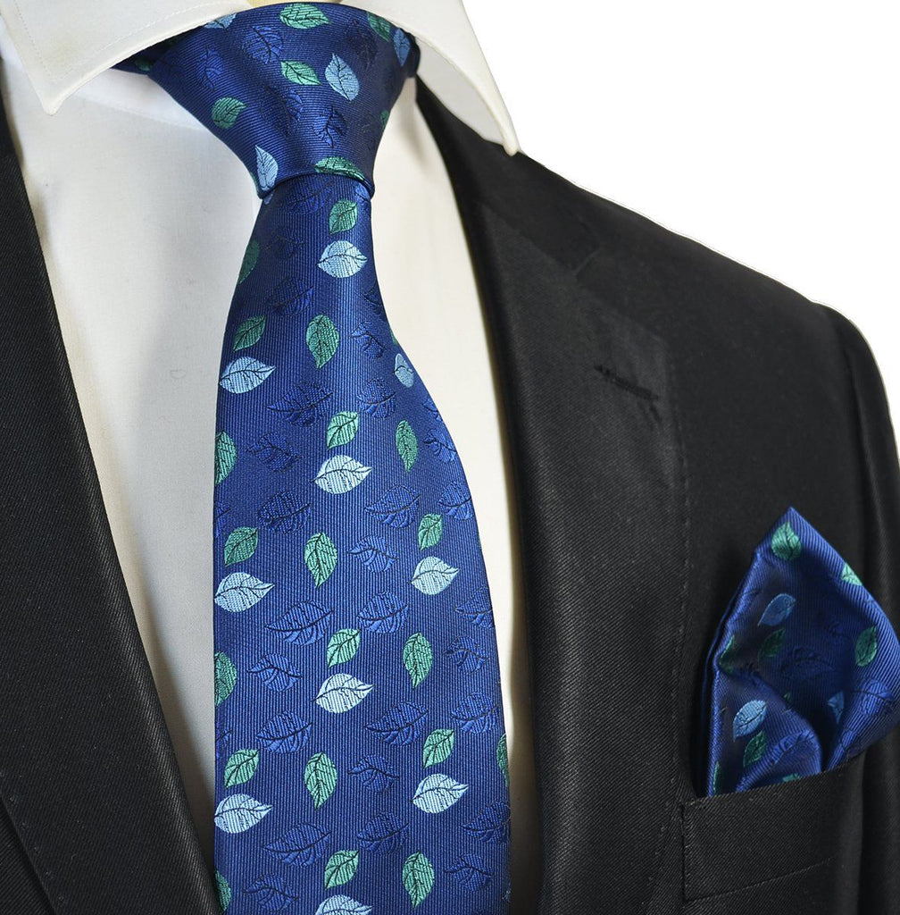Blue and Green Floral Men's Tie and Pocket Square