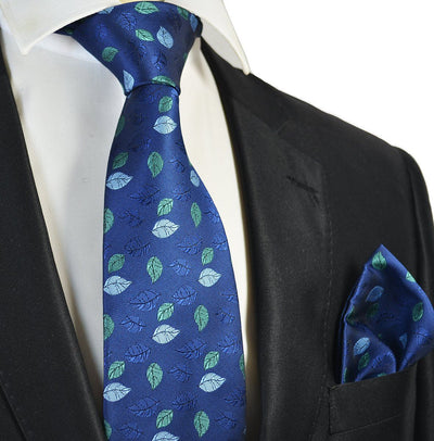 Blue and Green Floral Men's Tie and Pocket Square Paul Malone Ties - Paul Malone.com