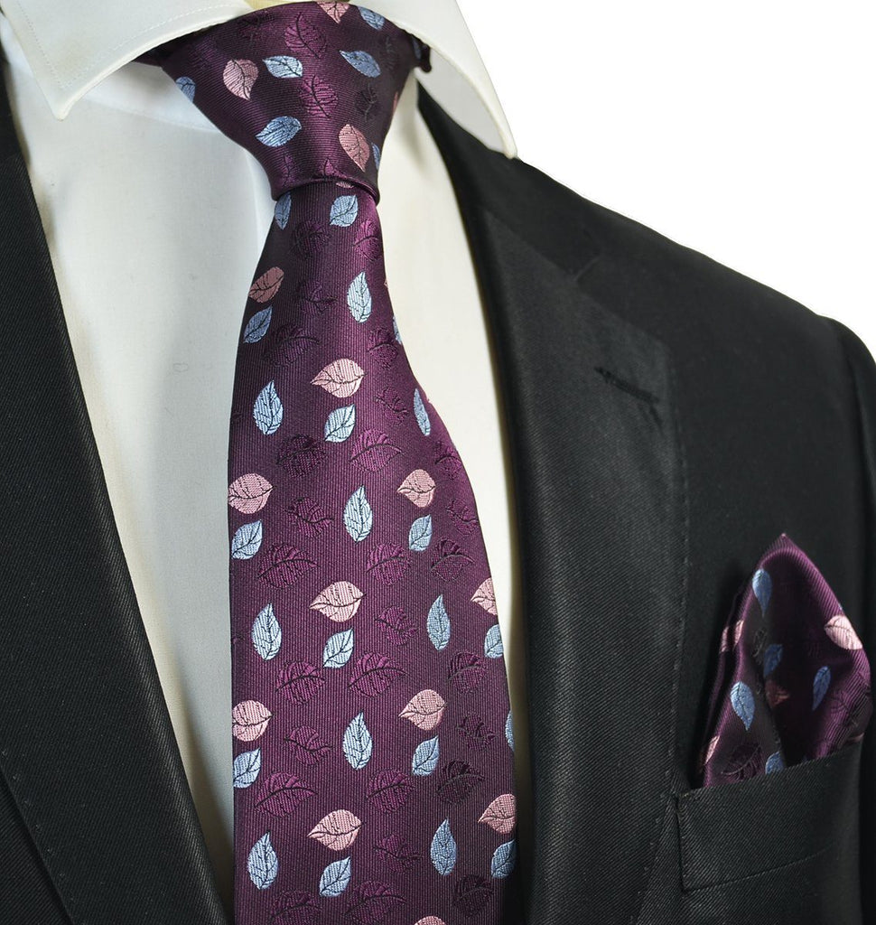 Imperial Purple and Light Blue Floral Men's Tie and Pocket Square Paul Malone Ties - Paul Malone.com