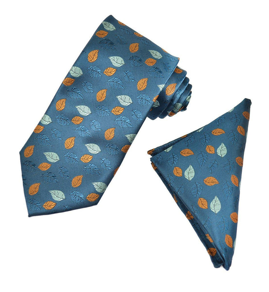 Blue and Orange Floral Men's Tie and Pocket Square Paul Malone Ties - Paul Malone.com