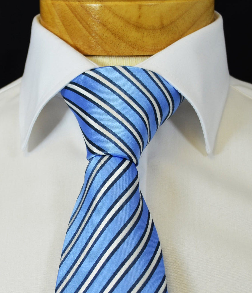 Extra Long Palace Blue and White Striped Tie BerlinBound Ties - Paul Malone.com