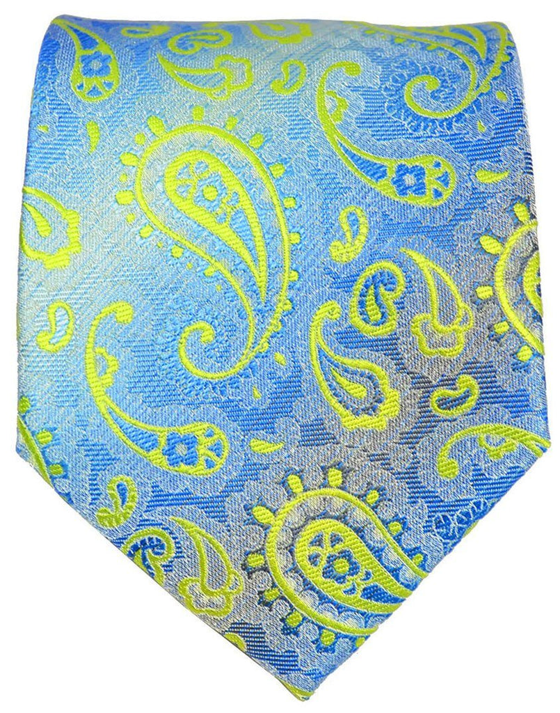Green and Blue Paisley Men's Tie and Pocket Square Paul Malone Ties - Paul Malone.com
