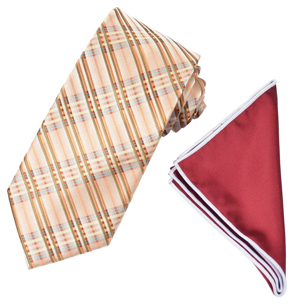 Bronze and Brown Men's Tie and Pocket Square Paul Malone Ties - Paul Malone.com