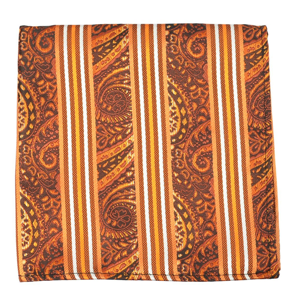 Orange and White Men's Tie and Pocket Square Paul Malone Ties - Paul Malone.com