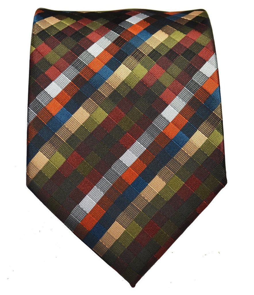 Brown Patterned Men's Tie and Pocket Square Paul Malone Ties - Paul Malone.com