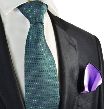Teal and Purple Men's Tie and Pocket Square Paul Malone Ties - Paul Malone.com