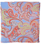Extra Long Red, Light Blue and Gold Paisley Men's Tie BerlinBound Ties - Paul Malone.com
