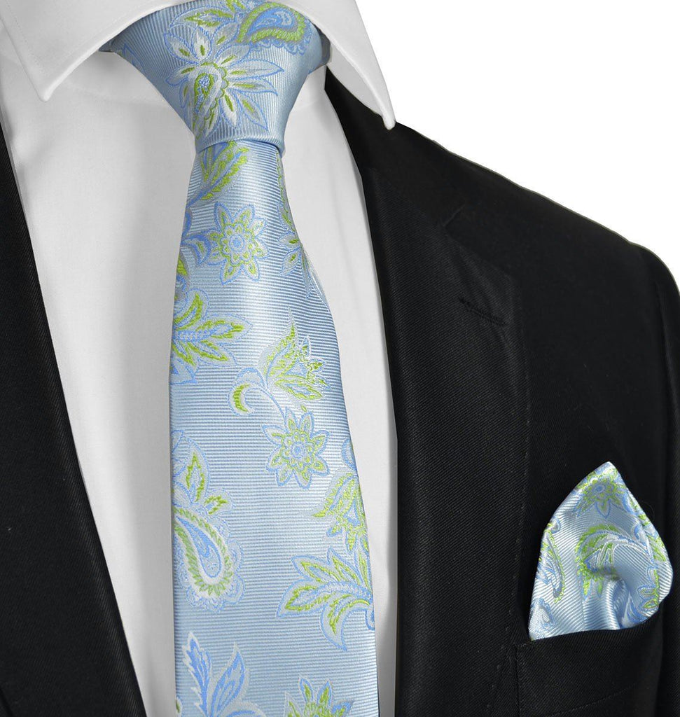 Sky Blue and Green Necktie Set Paul Malone Ties - Paul Malone.com
