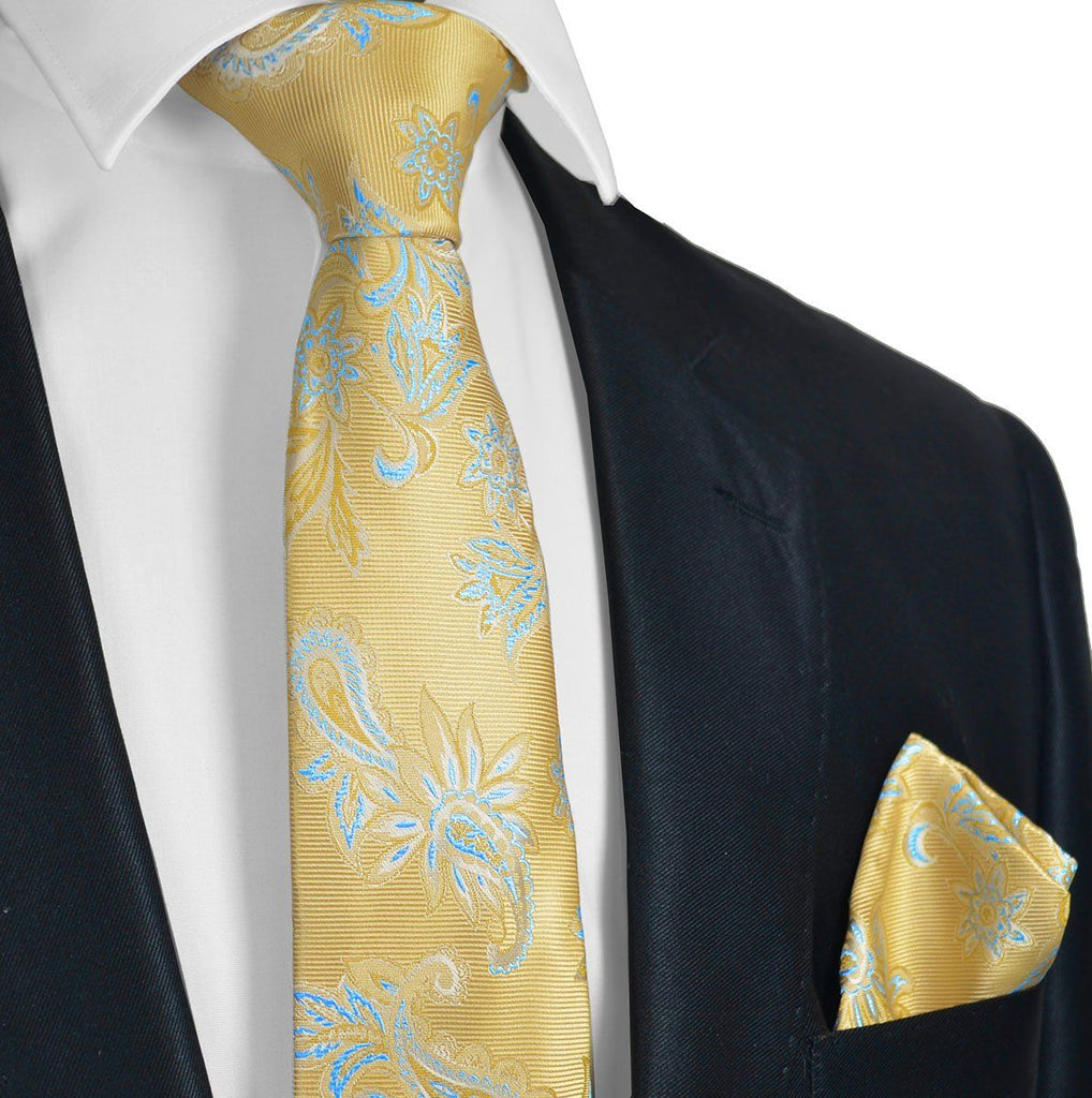 Gold and Blue Necktie Set Paul Malone Ties - Paul Malone.com