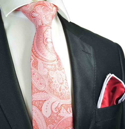 Pink and Red Paisley Men's Tie and Pocket Square Paul Malone Ties - Paul Malone.com