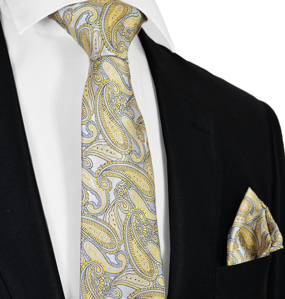 New Wheat and Grey Necktie Set Paul Malone Ties - Paul Malone.com