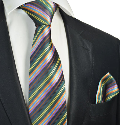 Teal Striped Men's Tie and Pocket Square Paul Malone Ties - Paul Malone.com