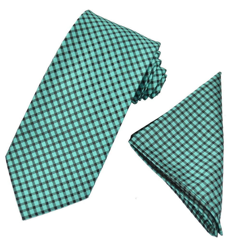 Teal and Black Checkered Men's Tie and Pocket Square Paul Malone Ties - Paul Malone.com