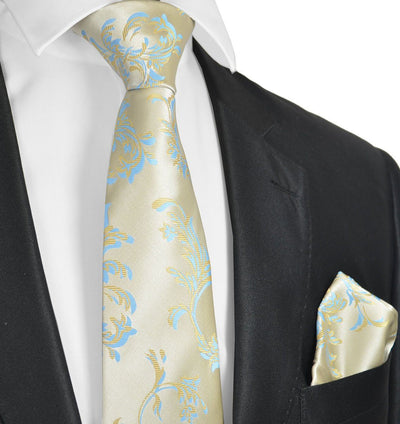Extra Long Formal Gold and Blue Necktie Set Paul Malone Ties - Paul Malone.com