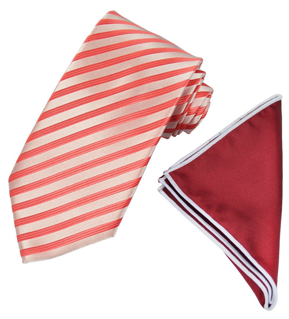 Red Striped Men's Tie and Pocket Square Paul Malone Ties - Paul Malone.com