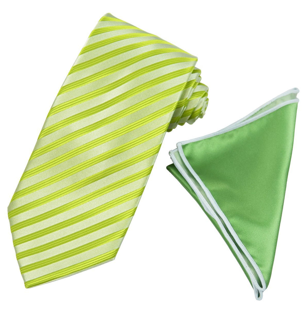 Lime Green Striped Men's Tie and Pocket Square Paul Malone Ties - Paul Malone.com