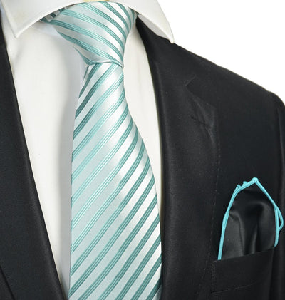 Turquoise Striped Men's Tie and Pocket Square Paul Malone Ties - Paul Malone.com