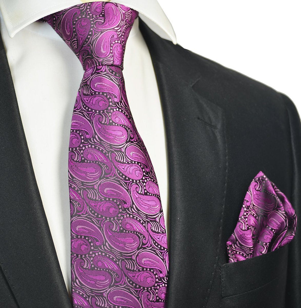 Violet Paisley Men's Tie and Pocket Square Paul Malone Ties - Paul Malone.com