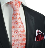 Red Floral Men's Tie and Pocket Square Paul Malone Ties - Paul Malone.com