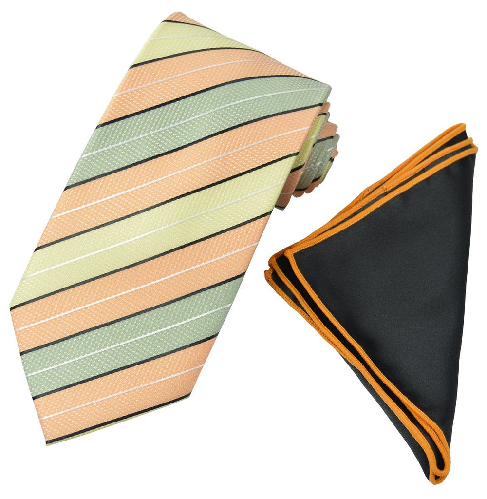 Green, Yellow and Orange Men's Tie and Pocket Square Paul Malone Ties - Paul Malone.com