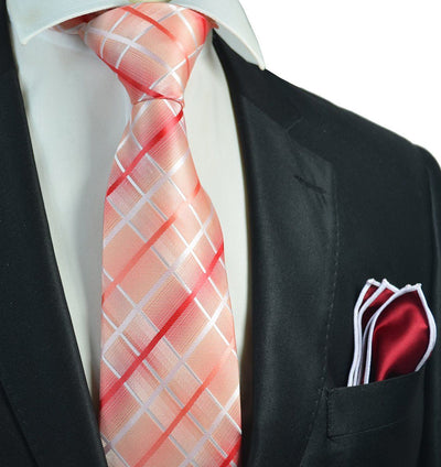 Red Plaid Men's Tie and Pocket Square Paul Malone Ties - Paul Malone.com