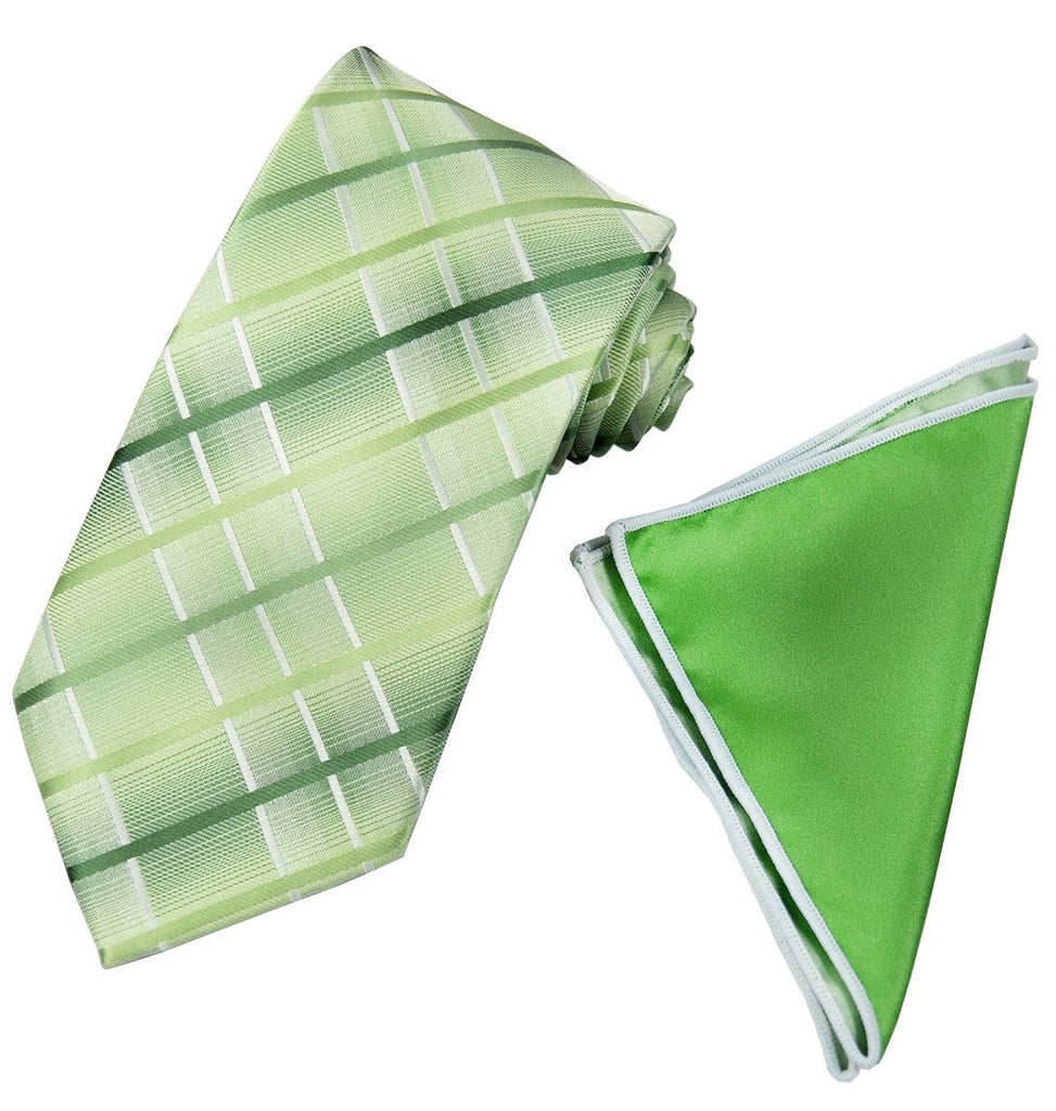 Green Plaid Men's Tie and Pocket Square Paul Malone Ties - Paul Malone.com