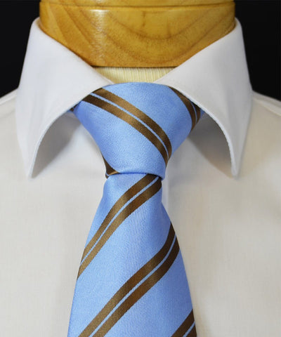 Extra Long Dusk Blue and Gold Striped Tie BerlinBound Ties - Paul Malone.com