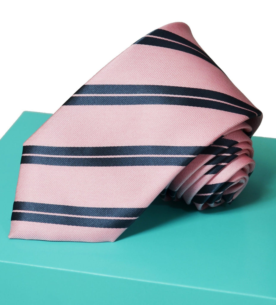Extra Long Pink Mist and Charcoal Striped Tie BerlinBound Ties - Paul Malone.com