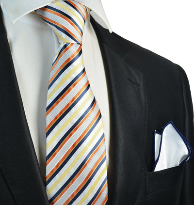 Yellow and Navy Striped Men's Tie and Pocket Square Paul Malone Ties - Paul Malone.com