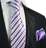 Purple and Blue Striped Men's Tie and Pocket Square Paul Malone Ties - Paul Malone.com