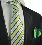 Green, Blue and Yellow Striped Men's Tie and Pocket Square Paul Malone Ties - Paul Malone.com