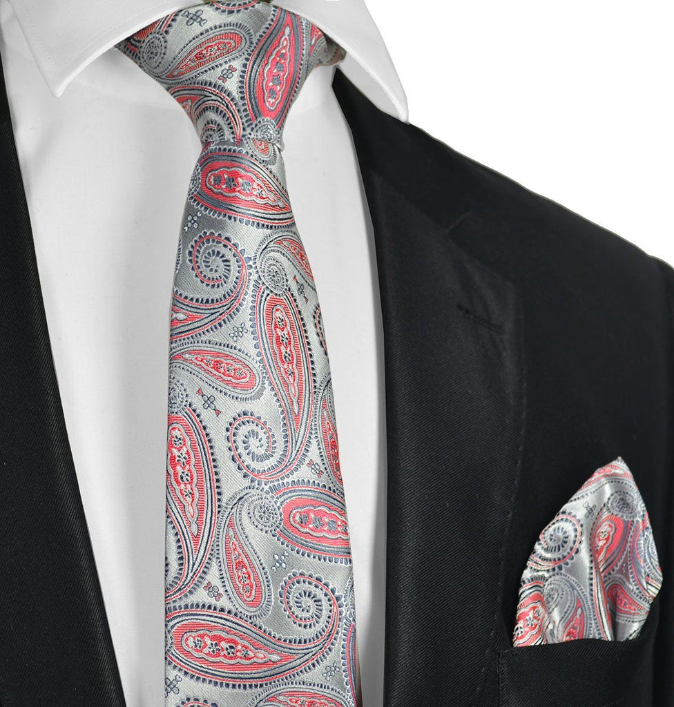 Silver and Cayenne Red Necktie Set Paul Malone Ties - Paul Malone.com