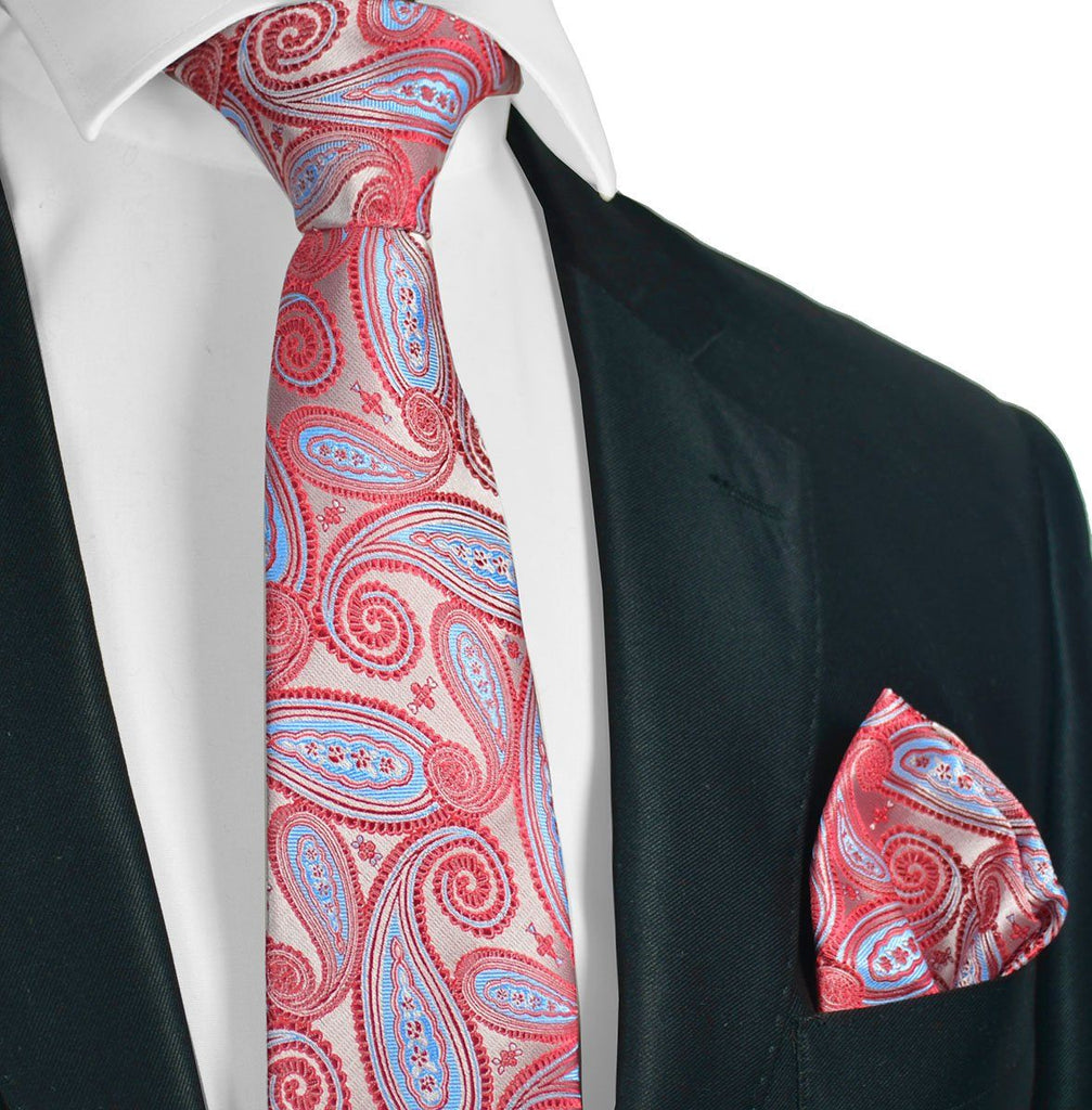 Extra Long Poinsettia and Blue Paisley Necktie Set Paul Malone Ties - Paul Malone.com