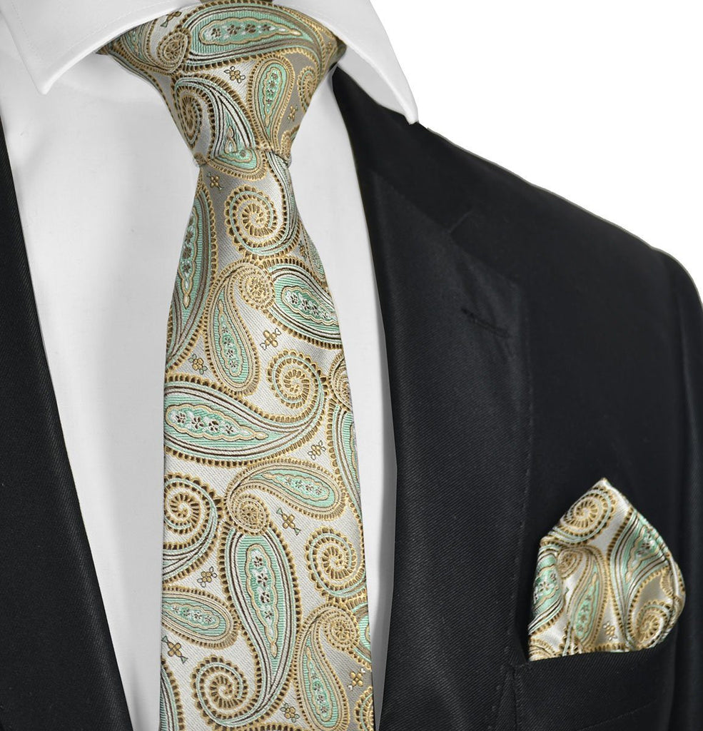 Gold and Turquoise Paisley Necktie Set Paul Malone Ties - Paul Malone.com