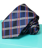 Extra Long Navy, Blue and Red Plaid Men's Tie BerlinBound Ties - Paul Malone.com