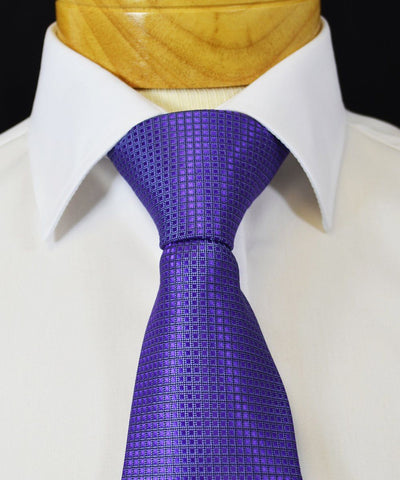 Extra Long Aster Purple Men's Tie with Microchecks BerlinBound Ties - Paul Malone.com